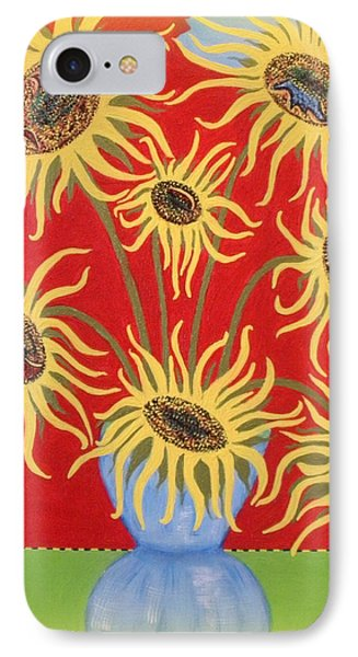 Sunflowers On Red IPhone Case
