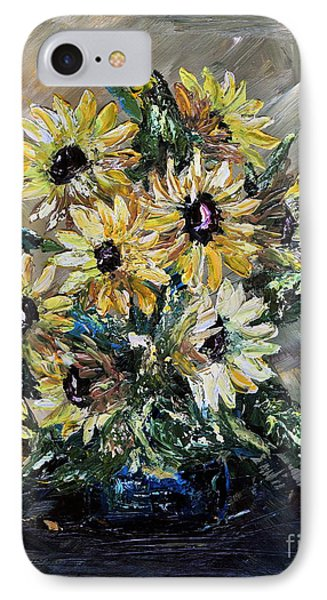 IPhone Case featuring the painting Sunflowers by Teresa Wegrzyn