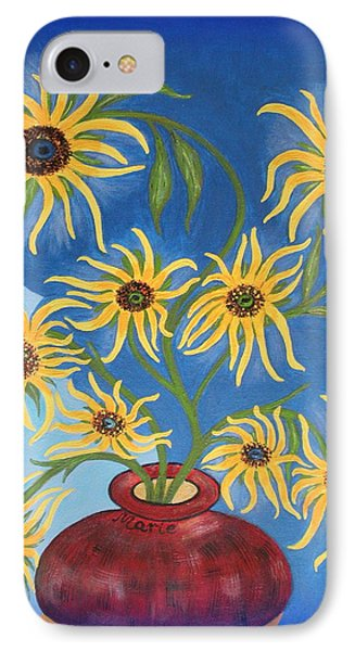 Sunflowers On Navy Blue IPhone Case by Marie Schwarzer