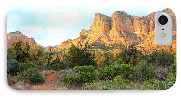 Sunlight On Sedona Rocks IPhone Case by Carol Groenen