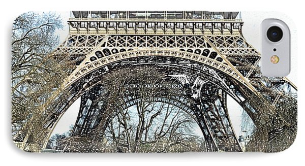 Sunlit Base And First Floor The Eiffel Tower In Early Springtime Paris France Colored Pencil Digital IPhone Case by Shawn O'Brien