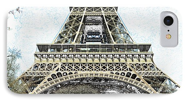 Sunlit Eiffel Tower First And Second Floors Paris France Colored Pencil Digital Art IPhone Case by Shawn O'Brien