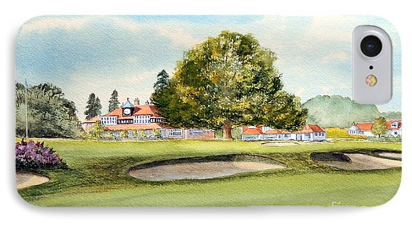 IPhone Case featuring the painting Sunningdale Golf Course 18th Green by Bill Holkham