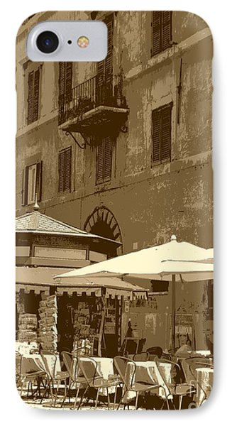 Sunny Italian Cafe - Sepia Phone Case by Carol Groenen