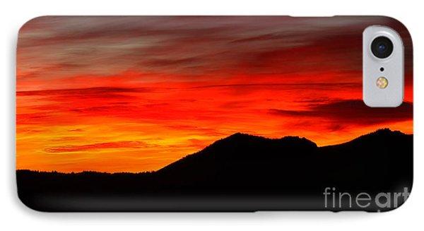 Sunrise Against Mountain Skyline Phone Case by Max Allen