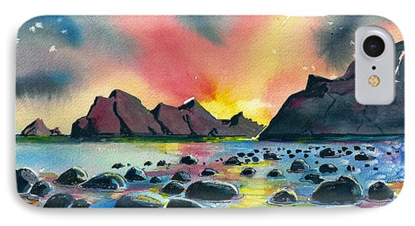 IPhone Case featuring the painting Sunrise And Water by Terry Banderas