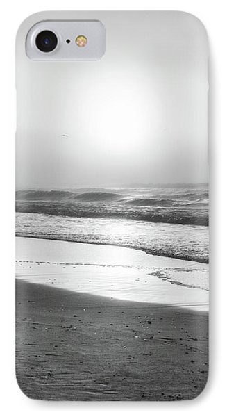 IPhone Case featuring the photograph Sunrise At Beach Black And White  by John McGraw