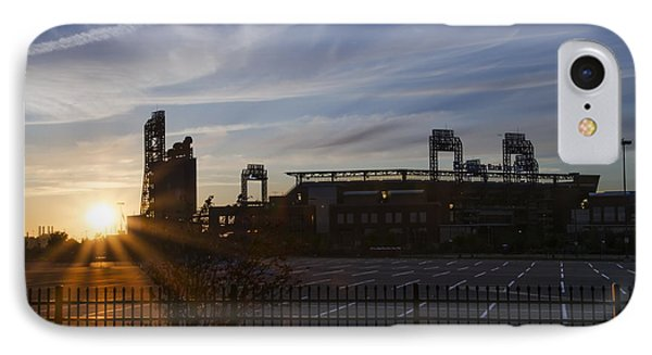 Sunrise At Citizens Bank Park - Philidelphia IPhone Case by Bill Cannon