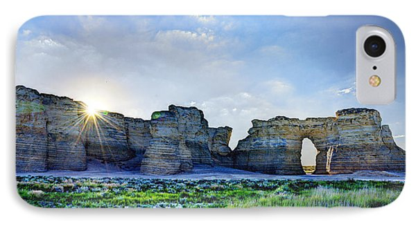 Sunrise At Monument Rocks IPhone Case by Jean Hutchison