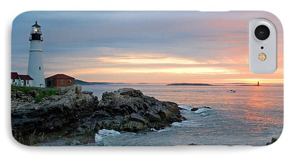 IPhone Case featuring the photograph Sunrise At Portland Head Lighthouse by Alana Ranney