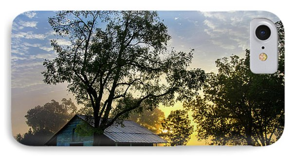 Sunrise At The Farm IPhone Case by George Randy Bass