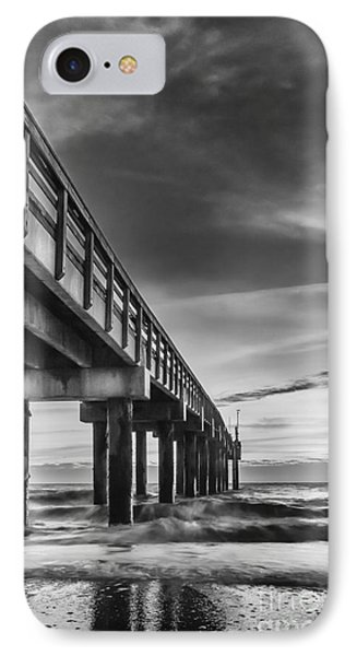 Sunrise At The Pier-bw IPhone Case by Marvin Spates