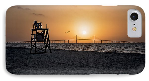 Sunrise At The Skyway Bridge IPhone Case by Michael White