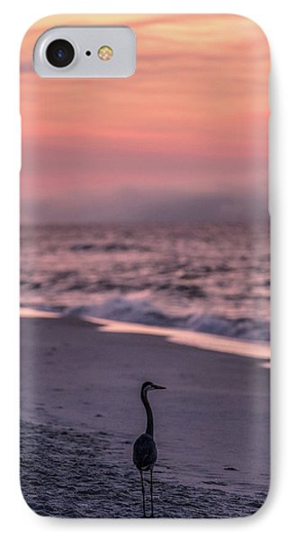 IPhone Case featuring the photograph Sunrise Beach And Bird by John McGraw