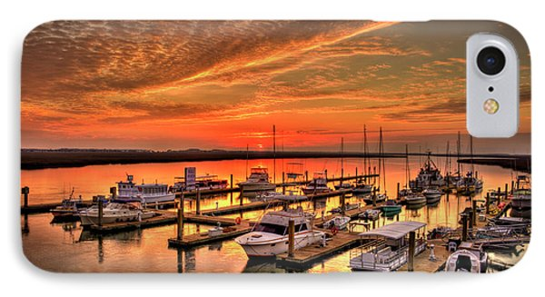 Sunrise Bull River Marina Tybee Island Savannah Art IPhone Case by Reid Callaway