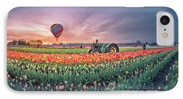 IPhone Case featuring the photograph Sunrise, Hot Air Balloon And Moon Over The Tulip Field by William Lee