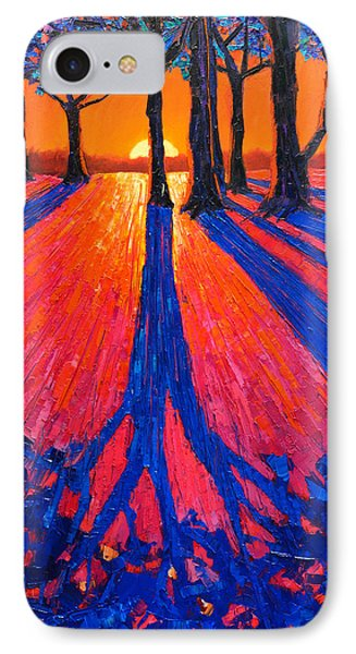 Sunrise In Glory - Long Shadows Of Trees At Dawn IPhone Case by Ana Maria Edulescu