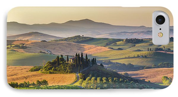 Sunrise In Tuscany IPhone Case by JR Photography
