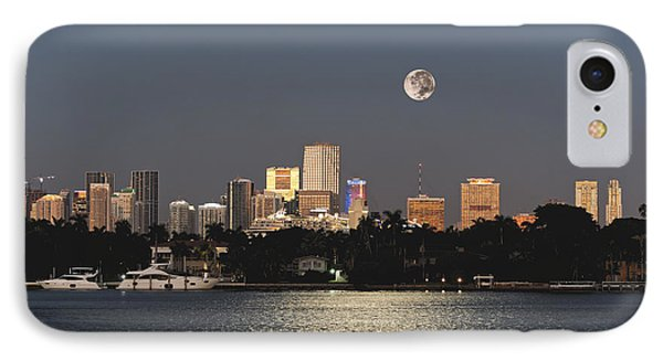 IPhone Case featuring the photograph Sunrise Moon Over Miami by Gary Dean Mercer Clark