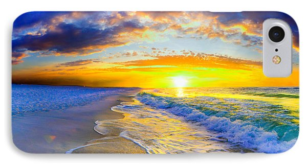 IPhone Case featuring the photograph Sunrise On Ocean Waves Beautiful Orange Sunrise by Eszra Tanner