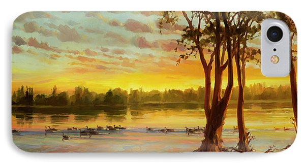 Geese iPhone 7 Case - Sunrise On The Columbia by Steve Henderson