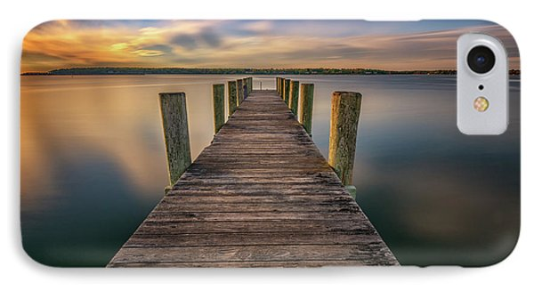 Sunrise On The Dock By The Peconic River IPhone Case by Rick Berk