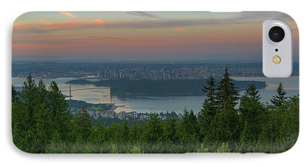 Sunrise Over City Of Vancouver Bc Canada Phone Case by David Gn