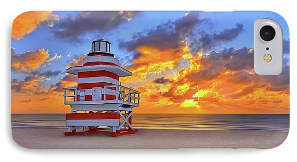 Sunrise Over Lifegaurd Stand On South Miami Beach  IPhone Case by Justin Kelefas