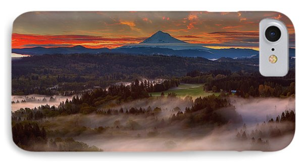 Sunrise Over Mount Hood And Sandy River Valley Phone Case by David Gn