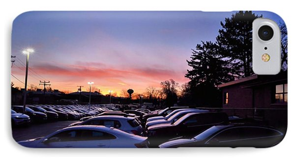 IPhone Case featuring the photograph Sunrise Over The Car Lot by Jeanette O'Toole