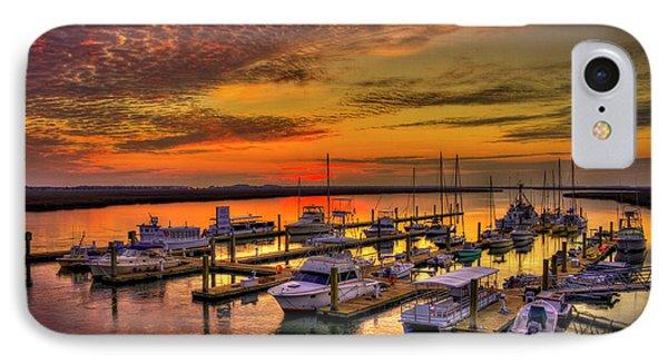 Sunrise Over Tybee Bull River Marina Art IPhone Case