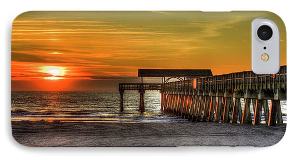 Sunrise Reflections Tybee Island Pier Art IPhone Case by Reid Callaway
