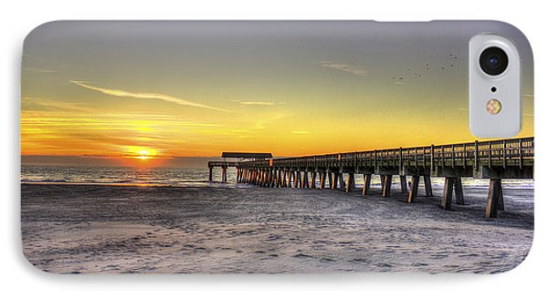 Sunrise Tybee Island Pier IPhone Case by Reid Callaway