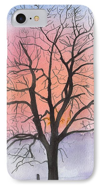 Sunrise Walnut Tree 2 Watercolor Painting IPhone Case by Conni Schaftenaar