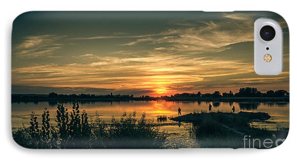 Sunset And Fishing IPhone Case by Robert Bales