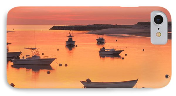 Sunset And Great Blue Heron Pamet Harbor Cape Cod IPhone Case by John Burk