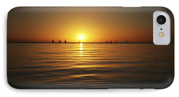 Sunset And Sailboats Phone Case by Brandon Tabiolo - Printscapes