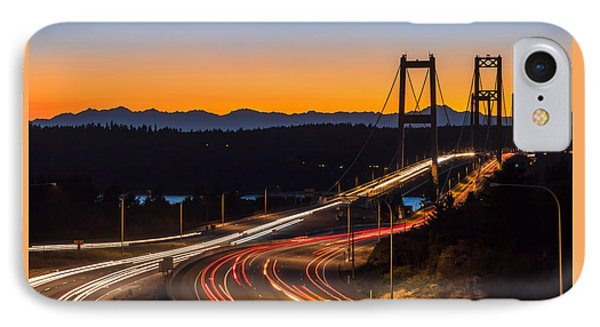 Sunset And Streaks Of Light - Narrows Bridges Tacoma Wa IPhone Case by Rob Green
