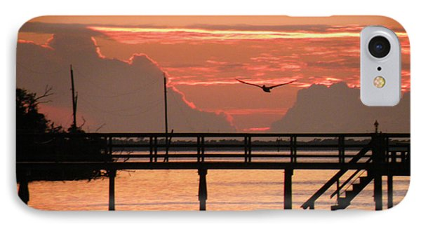 Sunset And The Fishing Dock IPhone Case by Rosalie Scanlon
