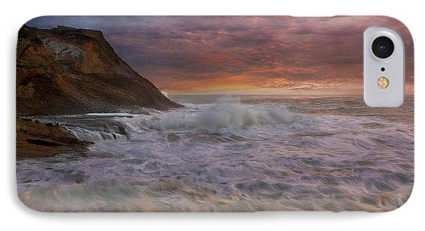 Sunset And Waves At Cape Kiwanda Phone Case by David Gn