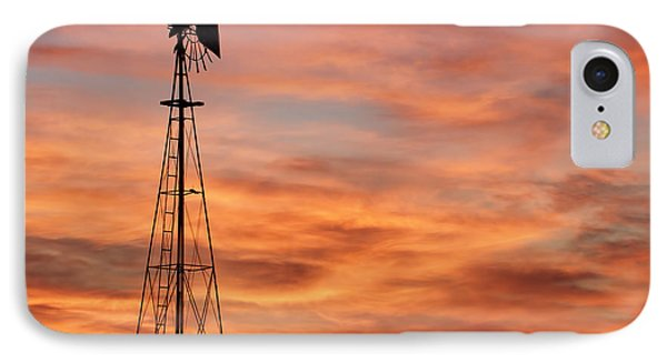 Sunset And Windmill 04 IPhone Case by Rob Graham