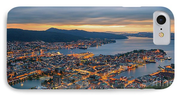 Sunset At Bergen As Seen From Mount Floyen, Norway. IPhone Case by Henk Meijer Photography
