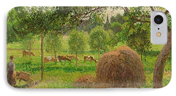 Sunset At Eragny Phone Case by Camille Pissarro