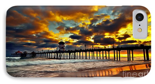 Sunset At Huntington Beach Pier Phone Case by Peter Dang