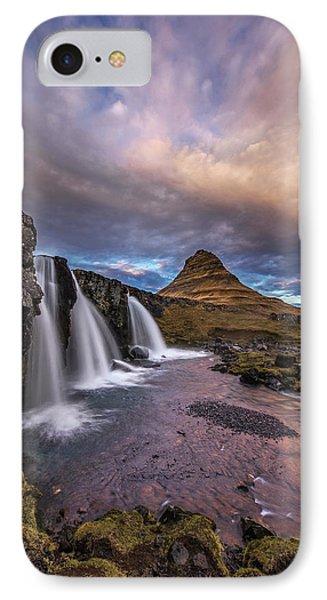 Sunset At Kirkjufellsfoss IPhone Case by Roman Kurywczak