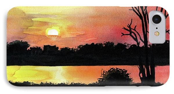 IPhone Case featuring the painting Sunset At Shire River In Malawi by Dora Hathazi Mendes