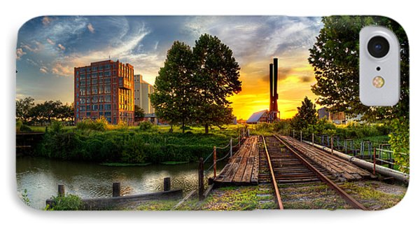 Sunset At The Imperial Sugar Factory Smoke Stacks Early Stage Landscape IPhone Case