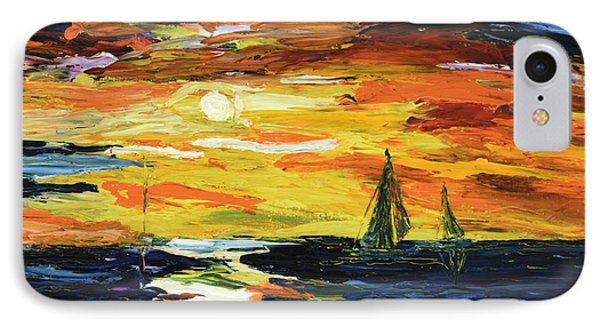 IPhone Case featuring the painting Sunset At The Oasis Lake Travis by The GYPSY And DEBBIE