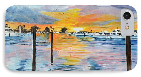 Sunset At The Yacht Club IPhone Case by Lloyd Dobson