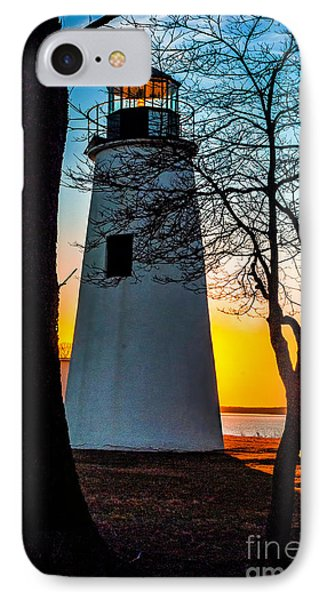 IPhone Case featuring the photograph Sunset At Turkey Point Lighthouse by Nick Zelinsky